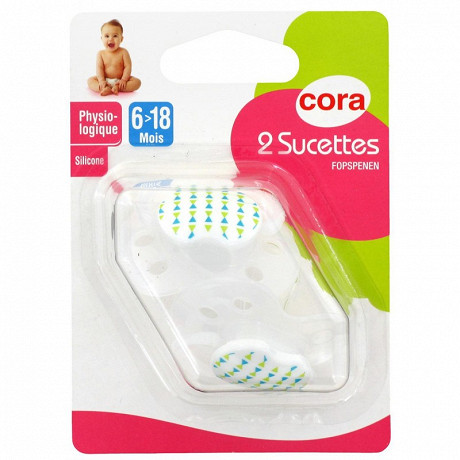2 sucettes physiologiques 6/18 mois silicone tree birds Cora