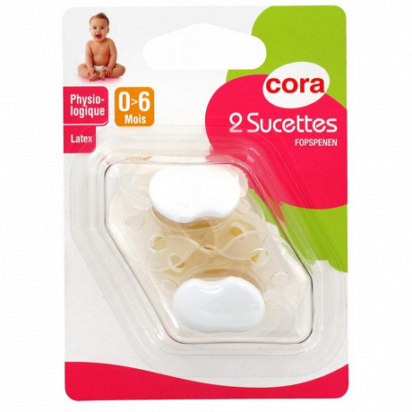 2 sucettes physiologiques 0-6 mois latex Cora