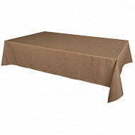 Nappe polyester effet lin rect 145x240cm coloris taupe