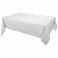 Nappe polyester damassee rect 145x240cm coloris blanc