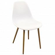 Chaise pp avec pieds en fer dim 53x74x83 cm coloris blanc