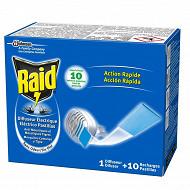 Raid diffuseur électrique plaquettes inodores 1 diffuseur + 10 plaquettes