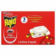 Raid pièges anti-cafards 6 boites d'appât