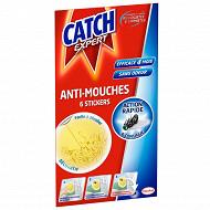 Catch stickers anti-mouches décoratifs jaune x 6