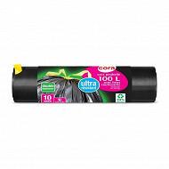 Cora sacs poubelle x10 liens coulissants 100l ultra résistant