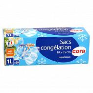 Cora sacs congélation x50 à soufflet petit modèle