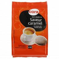 Cora café 10 dosettes pur arabica saveur caramel 70 g