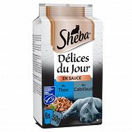 Sheba délices du jours sachets fraicheur en sauce aux poissons pour chat 6x50g