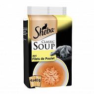 Shéba sachet fraicheur soupe filets de poulet 4 x 40g