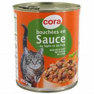 Cora bouchées en sauce pour chat lapin/foie/legumes 4/4 800gr