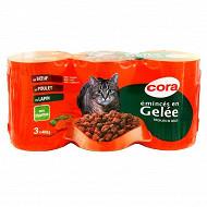 Cora émincés en gelée pour chat boeuf/poulet/lapin  3 x 400g 1200g