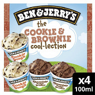 Ben & Jerry's glace mini pots the cookie & brownie cool-lection 4x100ml - 288g