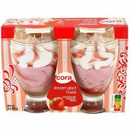 Cora 2 coupes glacées fraise 360ml - 180g