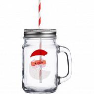 Drinking jar 450ml décor santa
