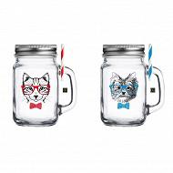 Drinking Jar 450ml 2 décors assorti