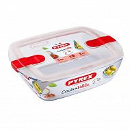 Pyrex cook & heat plat rectangulaire couvercle micro ondes 23x15cm