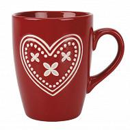 Mug grès 30cl gamme charme coloris rouge décor darling