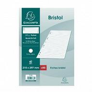 Exacompta - 50 fiches bristol perforées 210x297 5x5