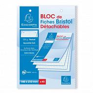 Exacompta  bloc 40 fiches bristol blanches pérforées 148x210 5x5