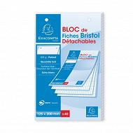 Exacompta bloc 40 fiches bristol blanches pérforées 125x200 5x5