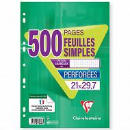 Clairefontaine feuilles simples perforées 210x297 500 pages petits carreaux 90g