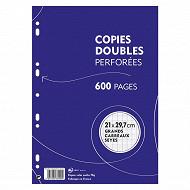 Copies doubles blanches perforées 21x29.7 cm 600 pages grands carreaux