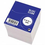 Bloc cube papier blanc encollé 70g 80x80x80