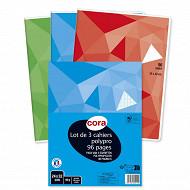 Cora lot de 3 cahiers piqûre (agrafe) 24 x 32 cm 96 p grands carreaux 90g couverture polypro