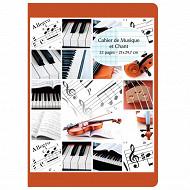 Cora cahier musique et chant  21 x 29.7 cm 32 pages seyes grands carreaux + musique