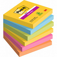Notes post-it 6 blocs 90F notes super sticky 76 x 76mm Rio