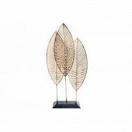 Déco 3 feuilles sur socle 50x24x9cm