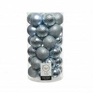 Boite de 37 boules bleu grisé diam 6cm