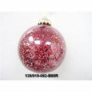 """Boule transparente """"étoile"""" rouge diam 8cm"""