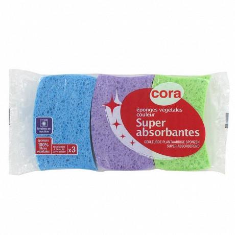 Cora 3 éponges végétales colorées super absorbantes