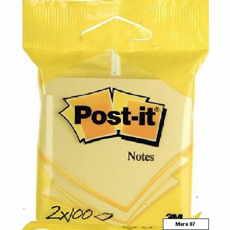 Scotch 2 blocs notes repositionnables post-it jaunes 7.6x7.6 cm 100 feuilles