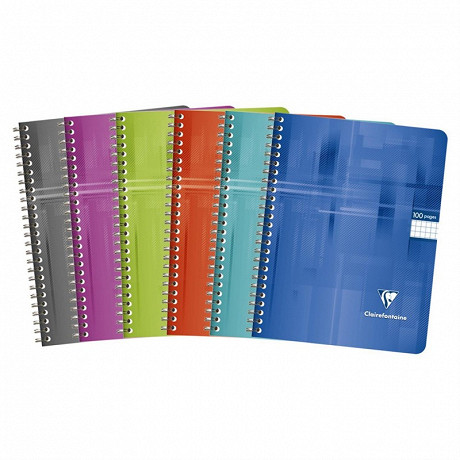 Clairefontaine cahier spirale 17x22 cm 100 pages petits carreaux 90 grammes