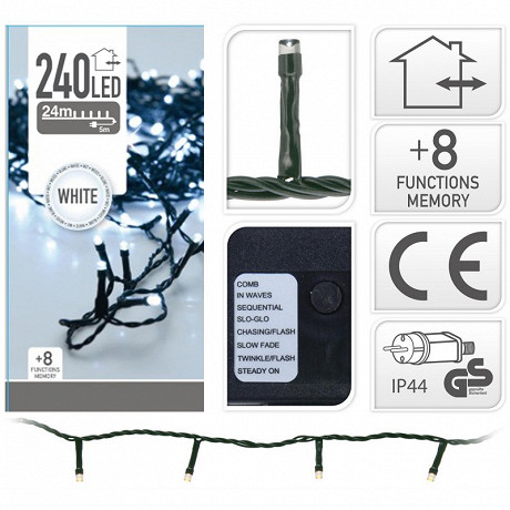 Guirlande ext 240 led blanc froid