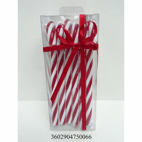 """Boite de 6 """"sucre d'orge déco""""   plastique H17cm"""