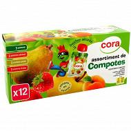 Cora kido compote panachés allégée pomme, pomme fraise, pomme abricot et pomme poire 12 x 90g