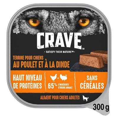 Crave Crave barquette en terrine au poulet & à la dinde pour chien 300g