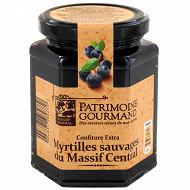 Patrimoine Gourmand confiture extra myrtilles sauvages du massif central 325g