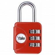 Yale cadenas de voyage à combinaison 28 mm assortiment 3 couleurs : gris, rouge, jaune, 3 chiffres