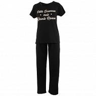 Pyjama long manches courtes femme NOIR-PETITE T50/52