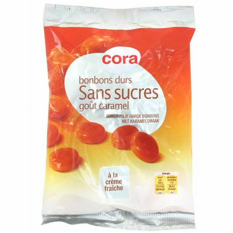 Cora bonbons durs sans sucres goût caramel 150g