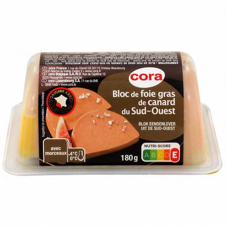 Cora bloc de foie gras de canard du Sud-Ouest avec morceaux 180g
