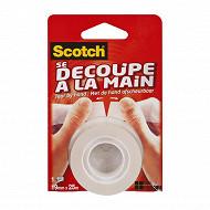 Scotch ruban adhésif transparent se découpe à la main 25 mètresx19 mm