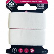 Style couture élastique semi-rigide 25mm x 1m blanc