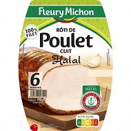 Fleury Michon 6 tranches rôti de poulet cuit halal 180g