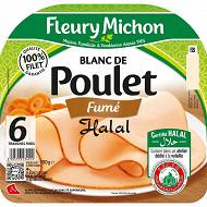 Fleury michon 6 tranches fines blanc de poulet fumé halal soit 180g