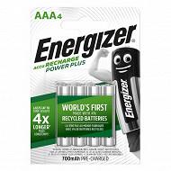 """Energizer 4 piles rechargeables AAA - 700 mAh déjà chargées """"accu recharge power plus"""""""